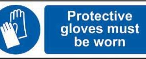 Protective Gloves Must Be Worn Sign, Rigid PVC (300mm X 100mm)
