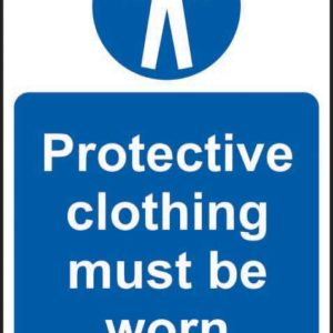 Protective Clothing Must Be Worn Sign, Self Adhesive Vinyl (200 X 300mm)