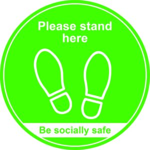 400mm Floor Graphic Please Stand Here – Green