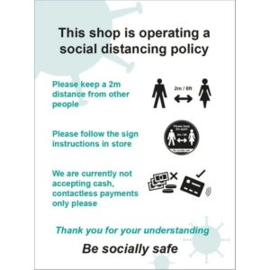 This Shop Is Operating A Social Distancing Policy B – RPVC (300 X 400mm)