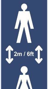 Keep 2m Apart (B) Post/Bollard Sign – CRX (800mm High For 100mm Dia. Post)