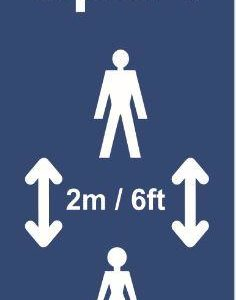 Copy Of Keep 2m Apart (B) Post/Bollard Sign – CRX (800mm High For 100mm Dia. Post)