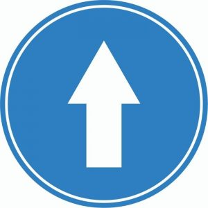 DIRECTIONAL ARROW INTERNAL FLOOR STICKERS BLUE 250mm