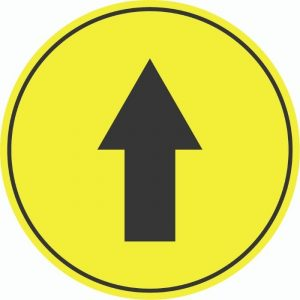 DIRECTIONAL ARROW FLOOR EXTERNAL STICKERS YELLOW 250mm