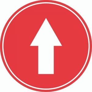 DIRECTIONAL ARROW INTERNAL FLOOR STICKERS RED 400mm