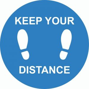 Keep Your Distance Internal Floor Sticker Blue
