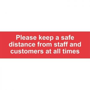 Please Keep A Safe Distance Internal Floor Sticker Red