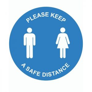Please Keep A Safe Distance External Floor Sticker Blue Circle