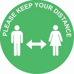 Please Keep A Safe Distance External Floor Sticker Green Circle