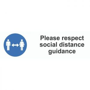 Please Respect Social Distancing Guidance External Floor Sticker Blue