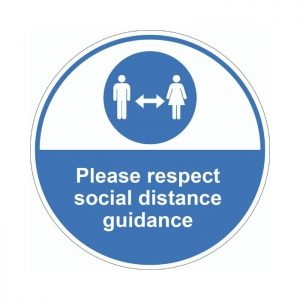 Please Respect Social Distancing Guidance External Floor Sticker Blue Circle