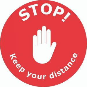 Stop Keep Your Distance External Floor Sticker Red